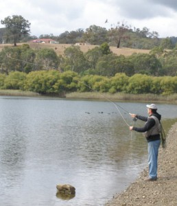 Peter casting at Eildon Pondage.